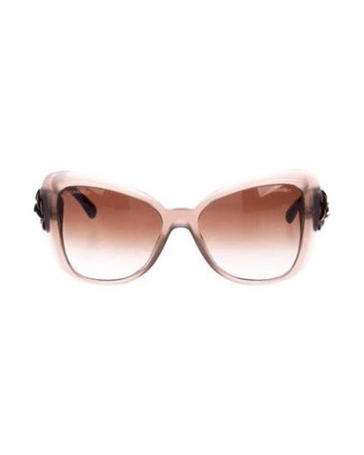 471c2e770a5 Chanel - Natural Camelia Butterfly Sunglasses Neutrals - Lyst ...
