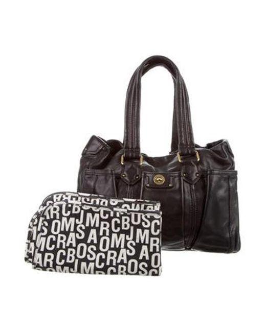5d8c4eaf4cef Marc Jacobs - Metallic Leather Diaper Bag Black - Lyst ...