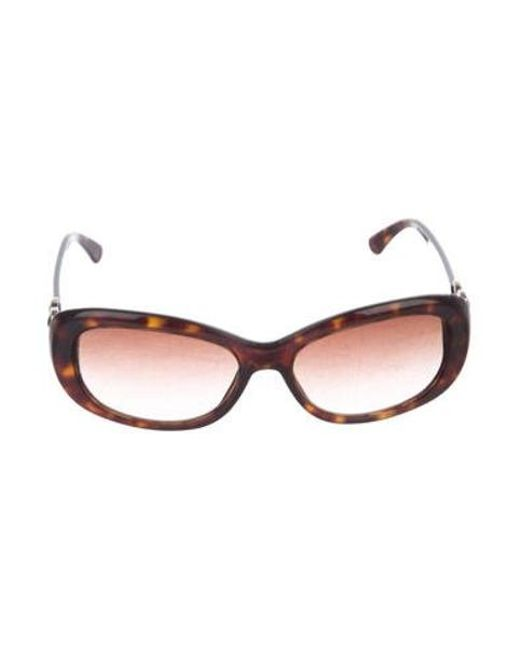 f96a503a4fa Chanel - Metallic Embellished Cc Sunglasses Brown - Lyst ...