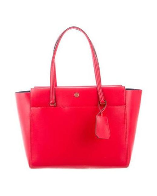 cc912591cb7 Tory Burch - Metallic Parker Leather Tote Red - Lyst ...