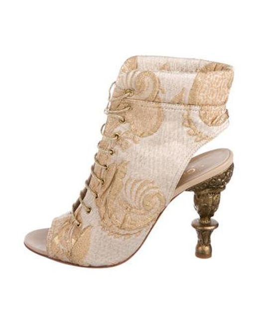 413c2552792 ... Chanel - Metallic Brocade Lace-up Ankle Boots Gold - Lyst ... closer ...
