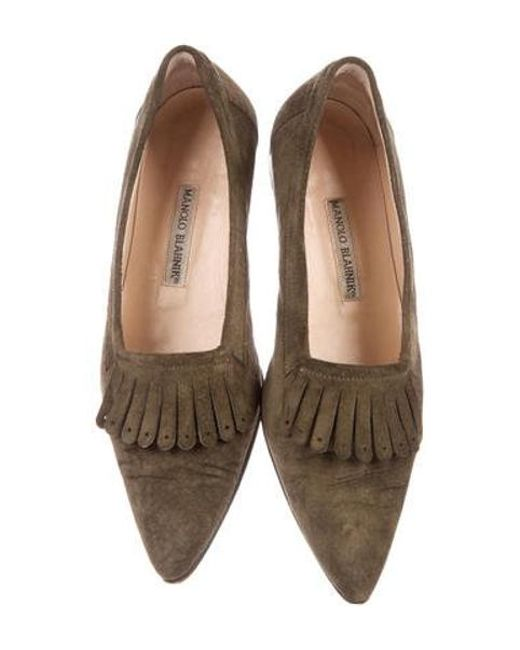 eac97959e ... Manolo Blahnik - Green Suede Pointed-toe Flats Olive - Lyst ...