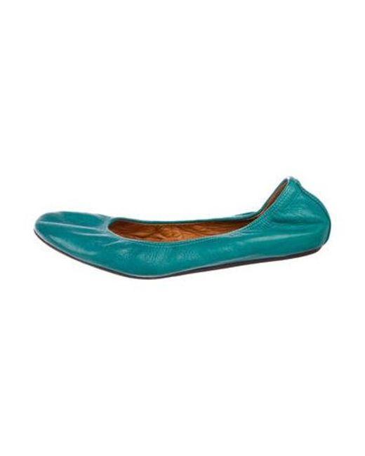 c5f3503f96c Lanvin - Green Leather Ballet Flats - Lyst ...