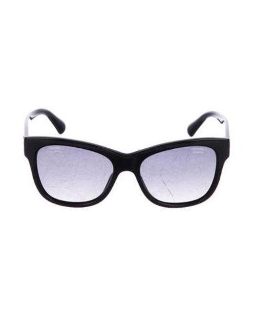 5a61c2b6b2e Chanel - Metallic Polarized Cc Sunglasses Black - Lyst ...