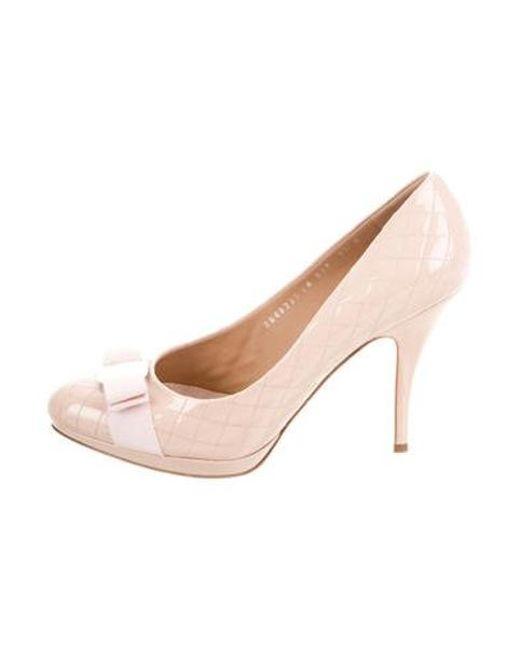 377bcb5542cd Ferragamo - Metallic Talia Vara Patent Leather Pumps Pink - Lyst ...