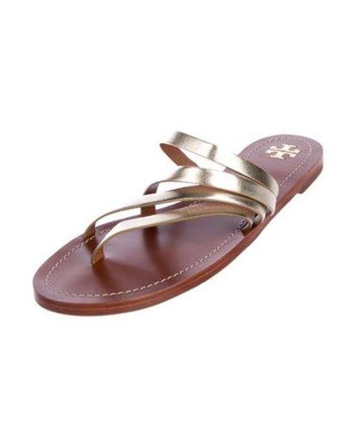 bafc2f84fb69f ... Tory Burch - Metallic Leather Sandals - Lyst ...