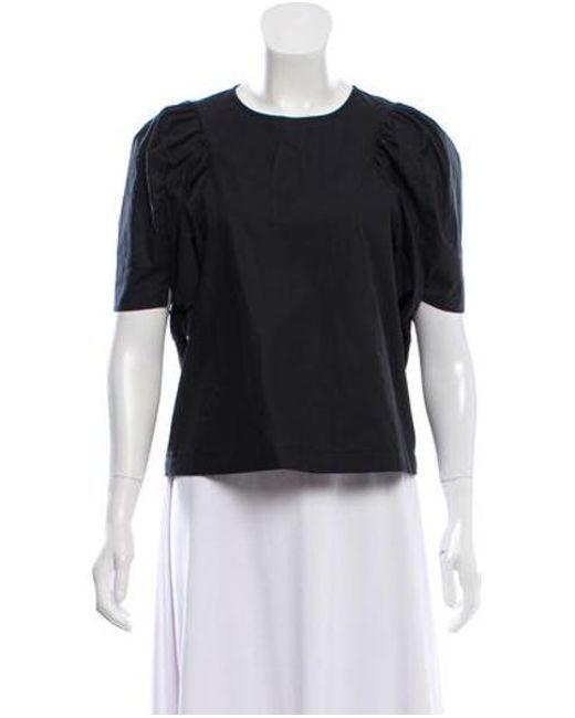 Sea - Black Tie-accented Short Sleeve Top - Lyst