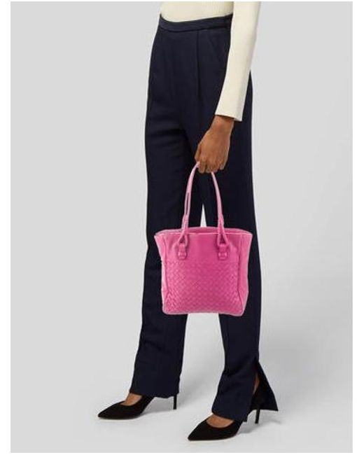 25bd920f7579 ... Bottega Veneta - Natural Leather Tote Bag Pink - Lyst ...