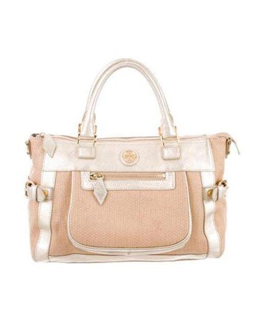 4220633764c Tory Burch - Metallic Woven Straw Handle Bag Tan - Lyst ...