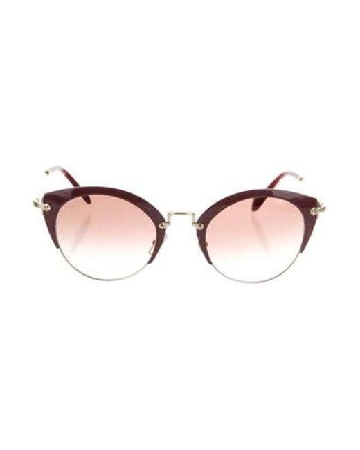 67e59594809 Miu Miu - Metallic Miu Gradient Cat-eye Sunglasses Gold - Lyst ...