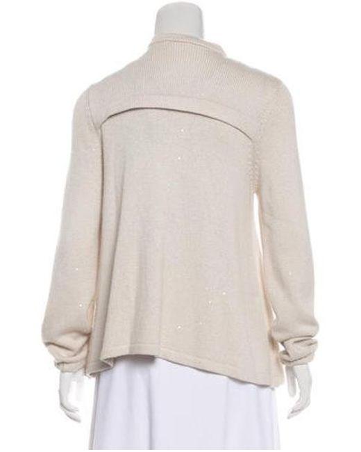 b38549b5b2 ... Brunello Cucinelli - White Sequin Knit Sweater - Lyst
