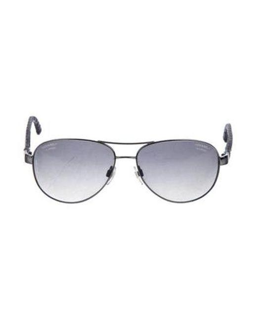 d4e60a9240b0 Chanel - Black Pilot Polarized Sunglasses - Lyst ...