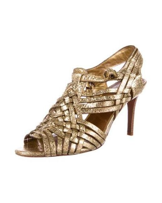 c988062078b5 ... Tory Burch - Metallic Woven Leather Sandals Gold - Lyst ...