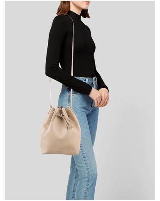 Mansur Gavriel Metallic Leather Bucket Bag Beige Lyst
