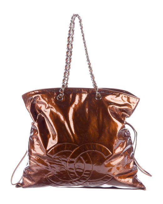 Chanel - Metallic Patent Leather Bon Tote Silver - Lyst
