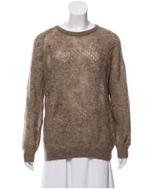 Vanessa Bruno Athé - Natural Mohair-blend Crew Neck Sweater Tan - Lyst
