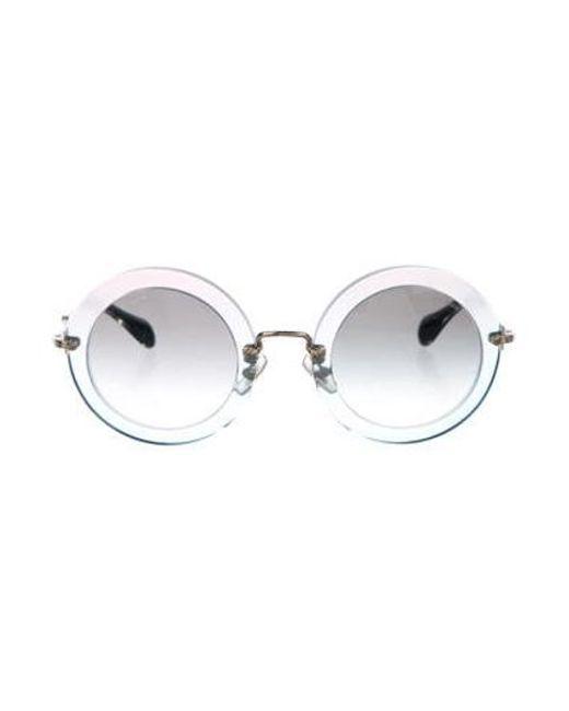 9fa95eadb Miu Miu - Metallic Miu Round Glitter Sunglasses Gold - Lyst ...