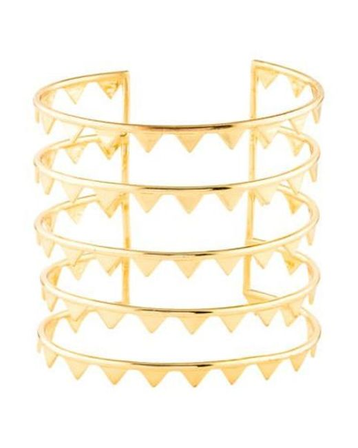 Arme De L'Amour - Metallic Five Row Spiked Cuff Gold - Lyst
