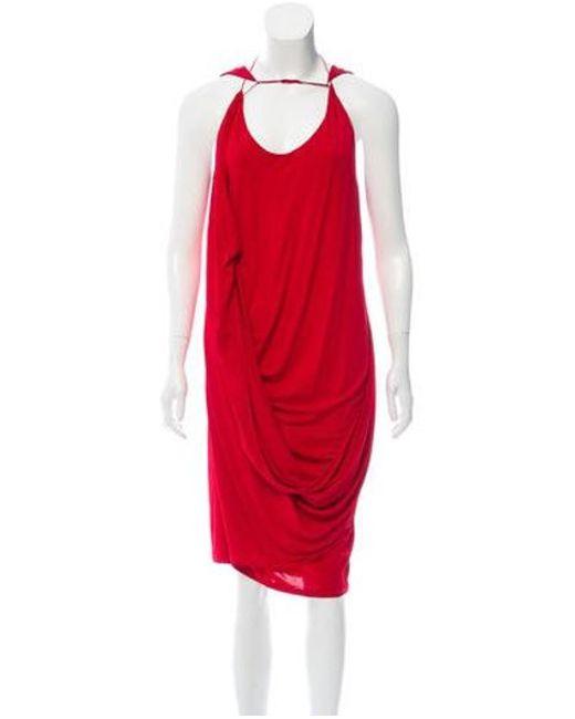 Ohne Titel - Red Draped Sleeveless Dress - Lyst