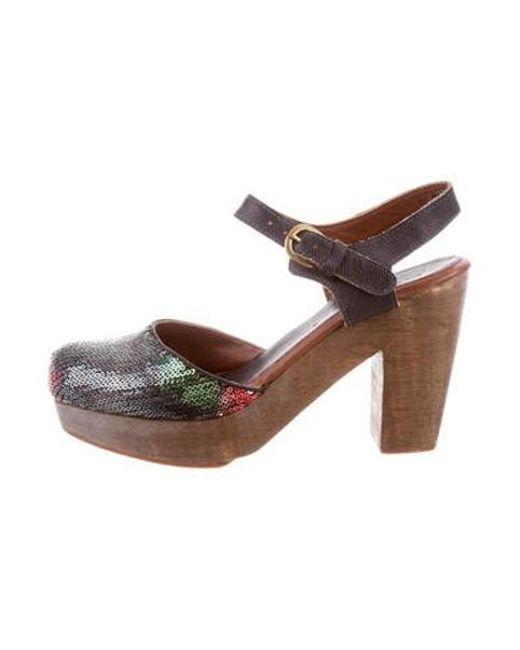 Rachel Comey - Green Sequin Platform Pumps Olive - Lyst