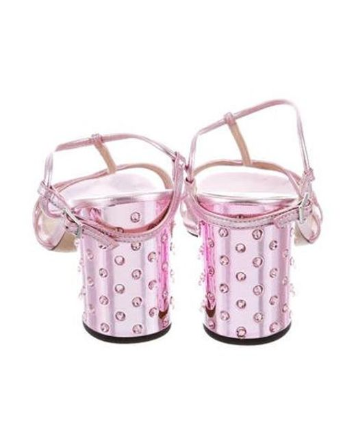 58bd83489e0 ... Marc Jacobs - Metallic Embellished Block Heel Sandals - Lyst