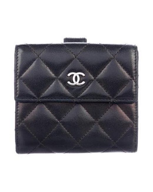 52359a19055c Chanel - Metallic Cc Quilted Compact Wallet Black - Lyst ...