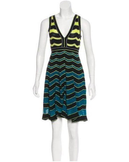 931f5708f1 M Missoni - Yellow Striped Mini Dress Black - Lyst ...