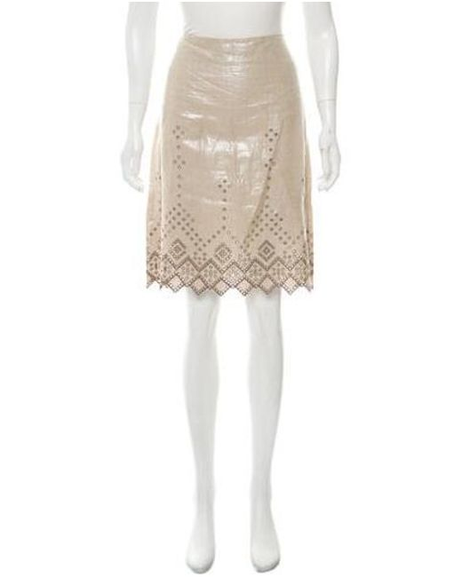 8a28ee3e7e0 Tory Burch - Natural Scalloped Embroidered Skirt Beige - Lyst ...