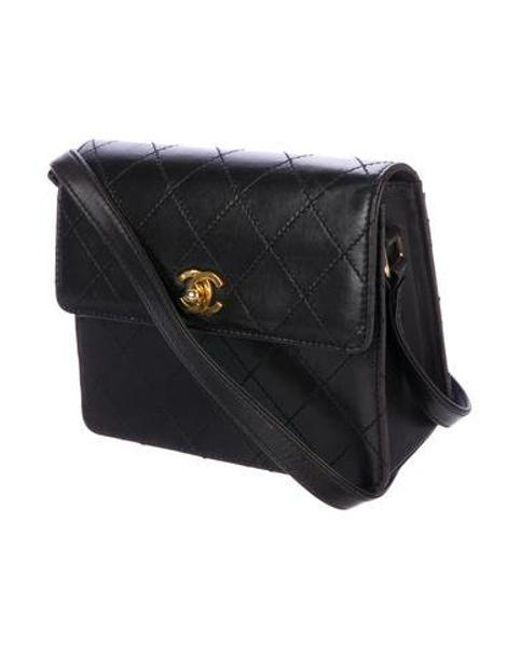 d2c537cf283e ... Chanel - Metallic Leather Flap Crossbody Bag Black - Lyst ...