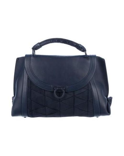 f4a0a585e660 Ferragamo - Blue Alligator-trimmed Origami Soft Sofia Bag Navy - Lyst ...