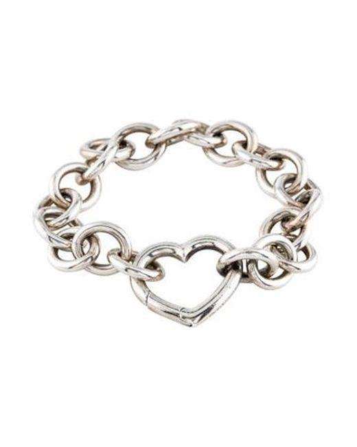 Tiffany Co Metallic Heart Link Bracelet Silver