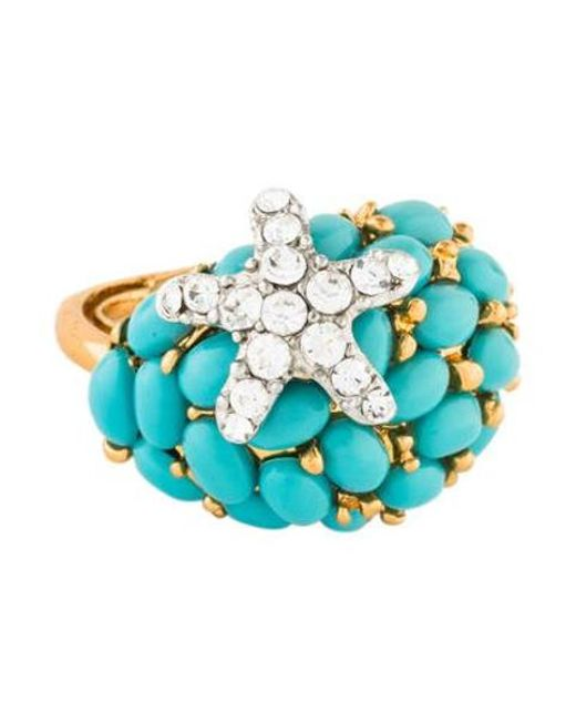 Kenneth Jay Lane - Metallic Cabochon Crystal Starfish Ring Gold - Lyst