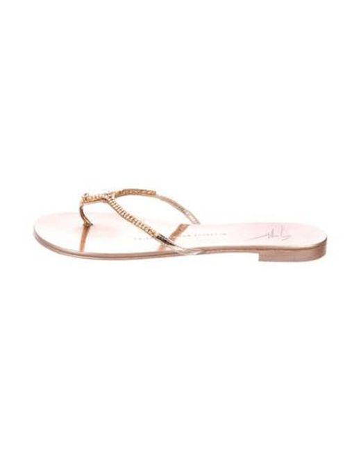 7f76bcfa0736 Giuseppe Zanotti - Metallic Embellished Thong Sandals Gold - Lyst ...