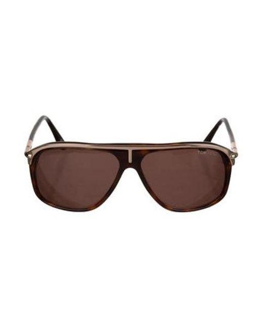 d47c0976e7f0 Tom Ford - Metallic Oversize Aviator Sunglasses Brown - Lyst ...
