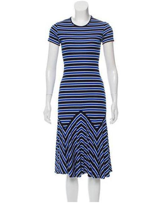 fdd395fd3c7e Michael Kors - Blue Striped Midi Dress Navy - Lyst ...