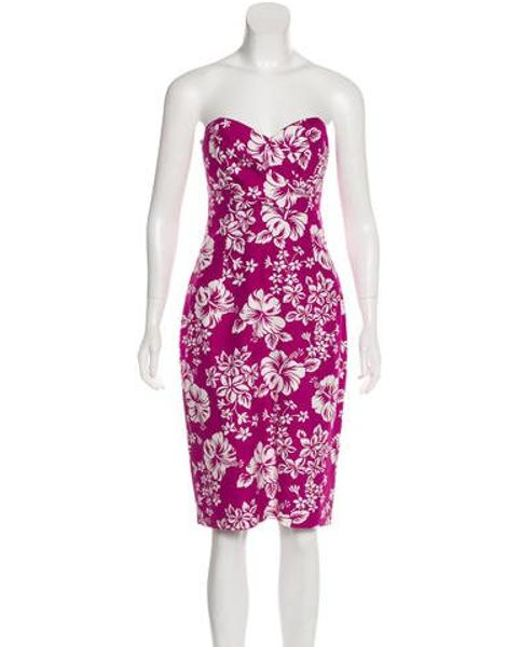 8aea632fbe5 Michael Kors - Purple Printed Strapless Dress W  Tags Violet - Lyst ...