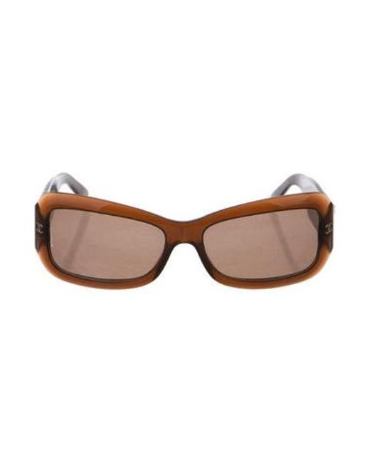 2eb4eddcea2 Lyst - Chanel Embellished Quilted Sunglasses Brown in Metallic ...