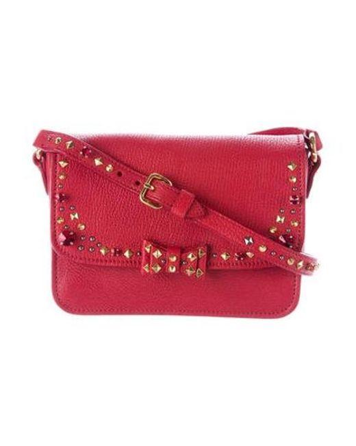 cd5cad4502d5 Miu Miu - Metallic Miu Madras Jeweled Crossbody Bag Red - Lyst ...