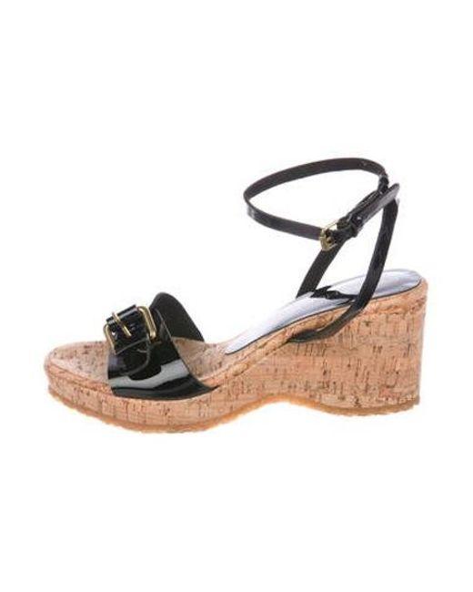 a3ea4deec26 Stella McCartney - Black Vegan Leather Wedge Sandals - Lyst ...