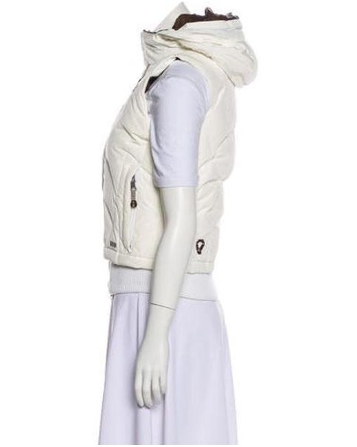 ... The North Face - White Hooded Down Vest - Lyst ... cae0323a0