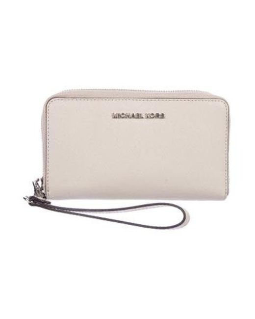 27a06e17b52d Michael Kors - Metallic Jet Set Travel Continental Wallet Silver - Lyst ...