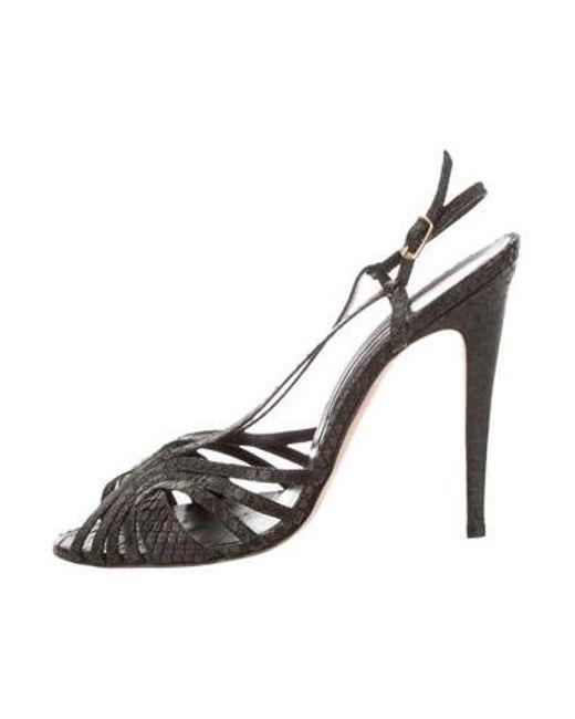c3c5f13a7071 Manolo Blahnik - Metallic Multistrap Snakeskin Sandals Black - Lyst ...