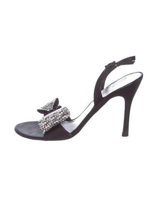 bfb3371c302 Stuart Weitzman - Black Embellished Ankle-strap Sandals - Lyst ...