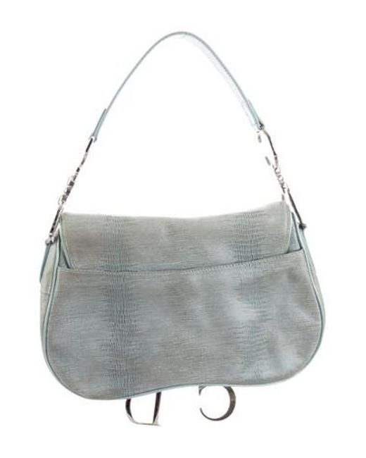 804dbe5a4678 ... Dior - Metallic Textured Saddle Bag Blue - Lyst