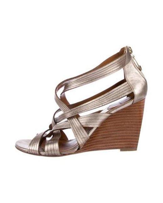 c58860e36732 Diane von Furstenberg - Metallic Leather Wedges Gold - Lyst ...