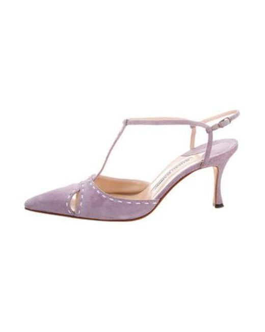 ef84c0cf45 Manolo Blahnik - Purple Suede T-strap Pumps - Lyst ...