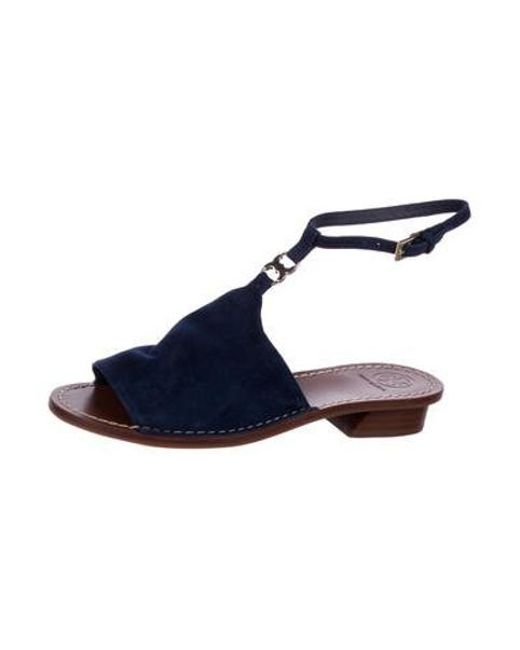 108a45f45 ... Tory Burch - Metallic Gemini Link Suede Sandals Navy - Lyst ...