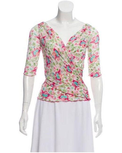 55b154a0ae343 Diane von Furstenberg - Silk Floral Top Multicolor - Lyst ...