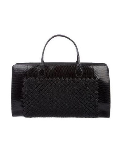c2754d793f54 Bottega Veneta - Black Snakeskin-trimmed Handle Bag - Lyst ...