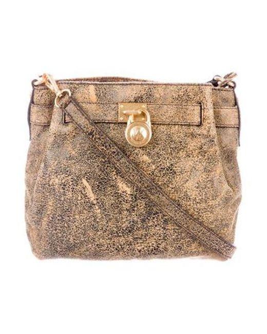 e33d4fd604f5 MICHAEL Michael Kors - Metallic Michael Kors Hamilton Bucket Bag Black -  Lyst ...